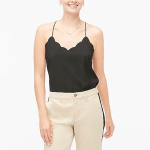NWT J. Crew Black scalloped cami top